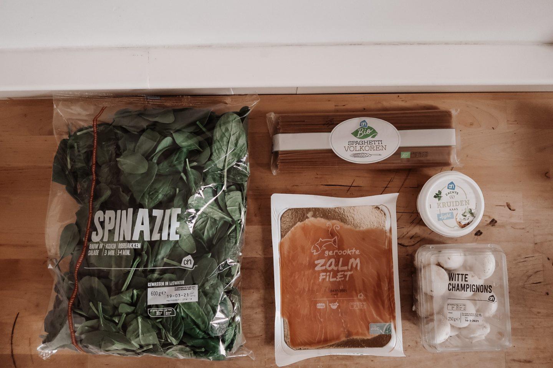pasta spinazie en zalm